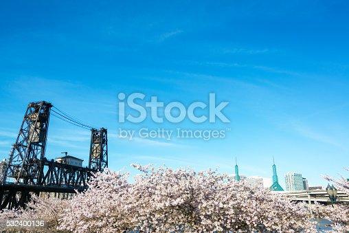 istock Steel Bridge and Cherry Blossoms 532400136