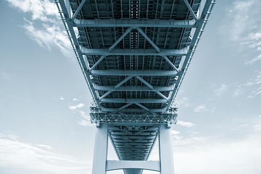 steel bridge as viewed from below