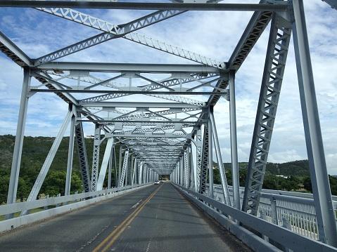 Photo taken when crossing trough a steel truss bridge at Junction, Texas