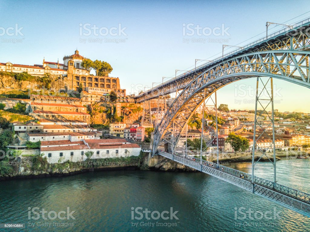 Steel bridge by Gustave Eiffel connecting Porto and Gaia, Portugal stock photo
