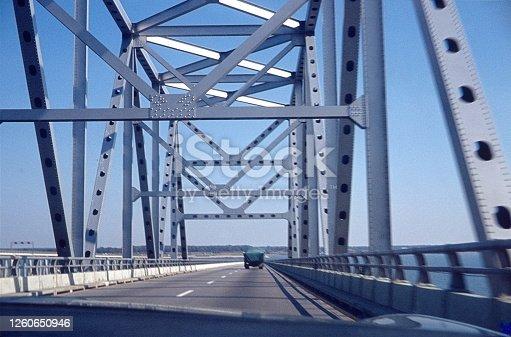 Ohio, USA, 1976. Steel bridge in the state of Ohio.