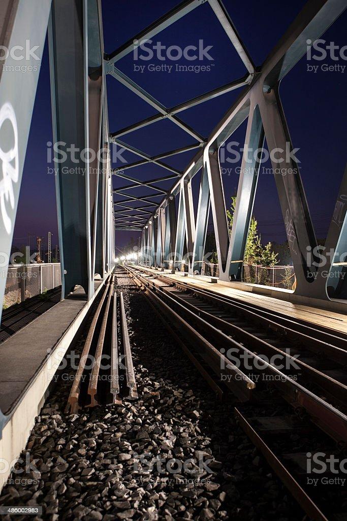 Steel bridge, railroad track stock photo