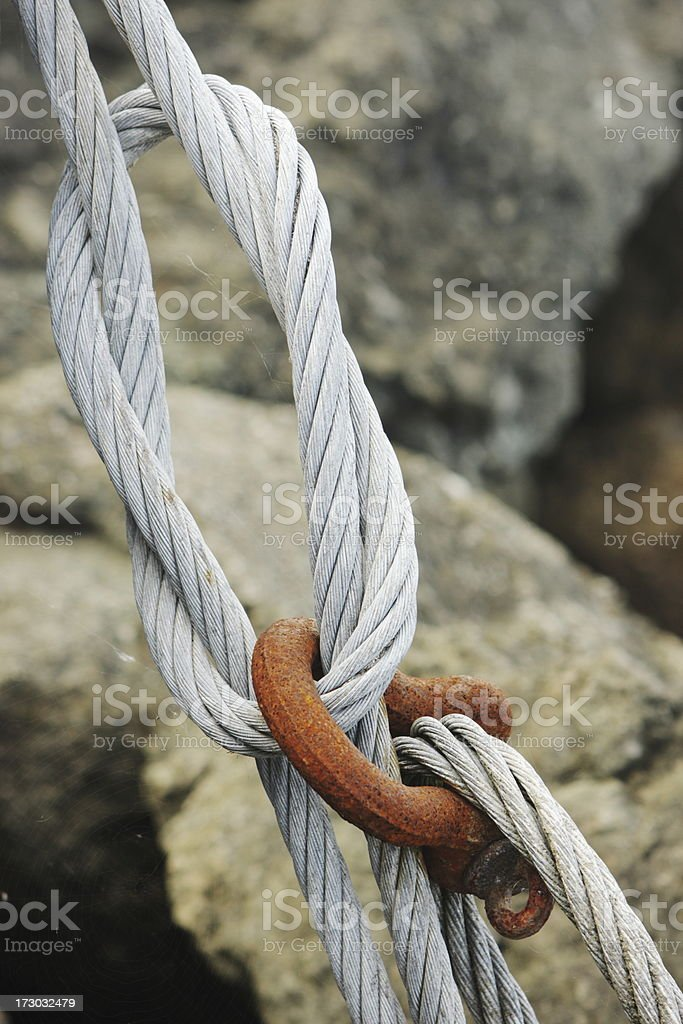 Steel Cable Square Knot Rusted Hook royalty-free stock photo