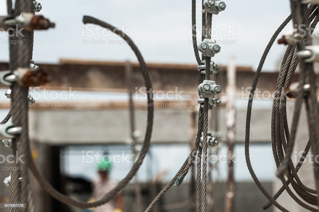 The steel cables are made by several rolled wires side and side and...