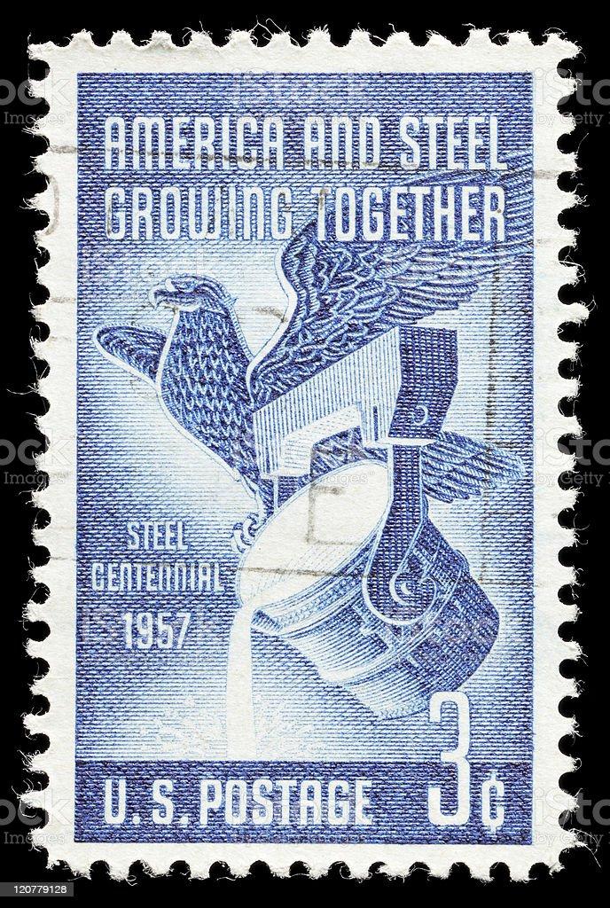 Steel Centennial Stamp stock photo