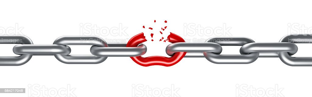 Steel chain breaking with unique red link stock photo
