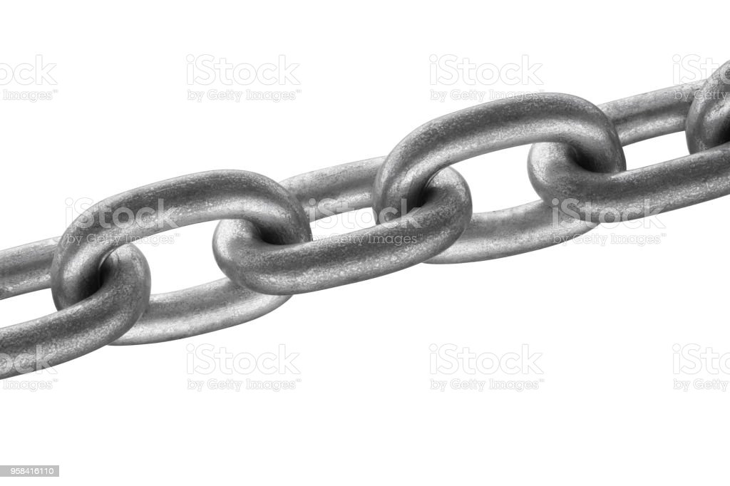 Steel chain on white background closeup. stock photo