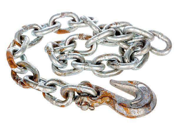 steel chain with hook - chain object stock photos and pictures