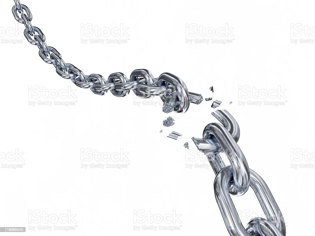 Steel chain with splintered link stock photo