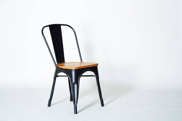 Steel chair with light wood stock photo