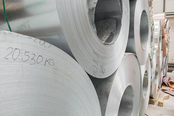 Steel coil closeup stock photo