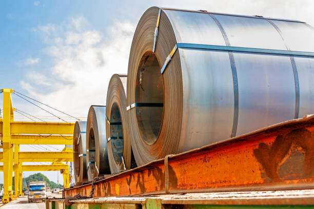 Steel coil transport Steel coil transportation at port hooikoorts stock pictures, royalty-free photos & images