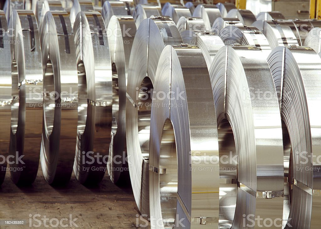 Steel Coils In a Factory stock photo