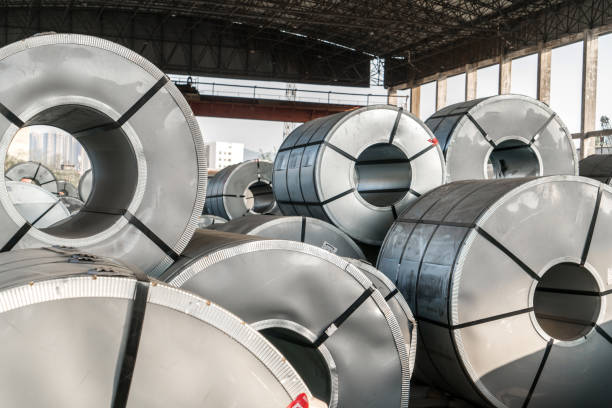 Steel coils inside a factory stock photo