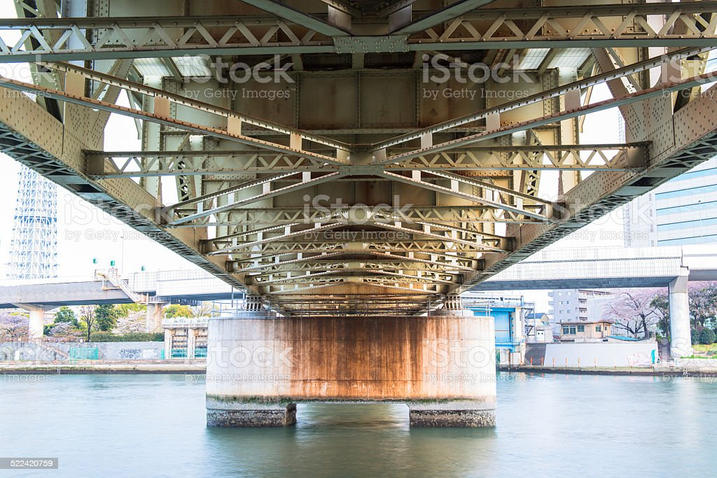 steel construction from under the bridge - Japan stock photo