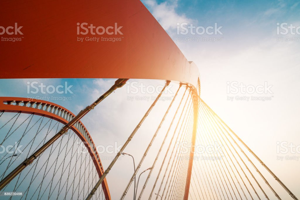 Steel construction of red bridge stock photo