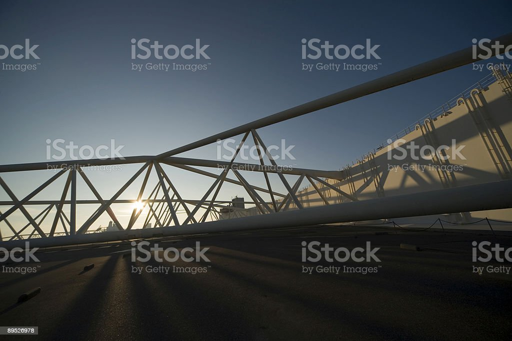 steel construction of the Maeslantkering, a storm surge barrier royalty-free stock photo