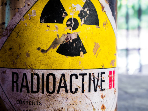 Steel container of Radioactive material Cylinder shape container of Radioactive material radioactive contamination stock pictures, royalty-free photos & images