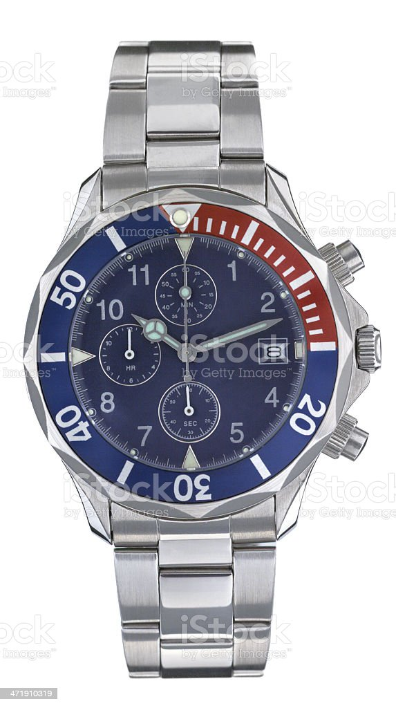 Steel cronograph watch with blue and red bezel, blue face royalty-free stock photo
