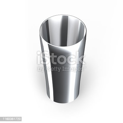 Steel cup high angle view isolated on white with clipping path