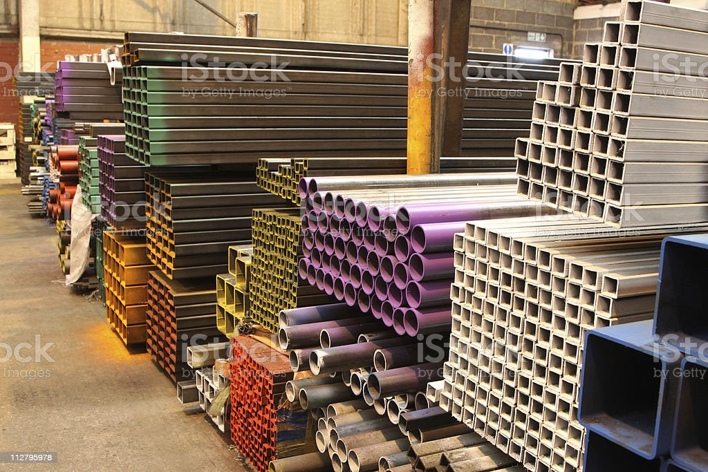 steel distribution warehouse stock photo