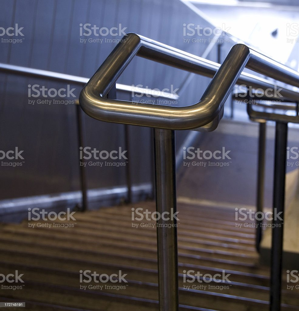 Steel double handrail royalty-free stock photo