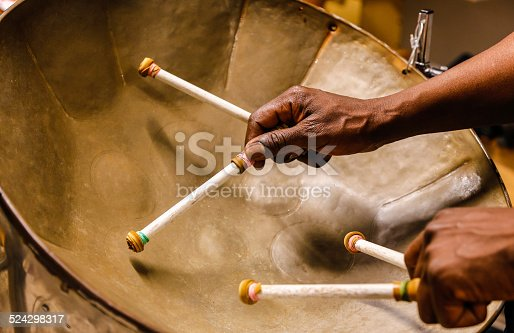 Steel drummmer with four sticks