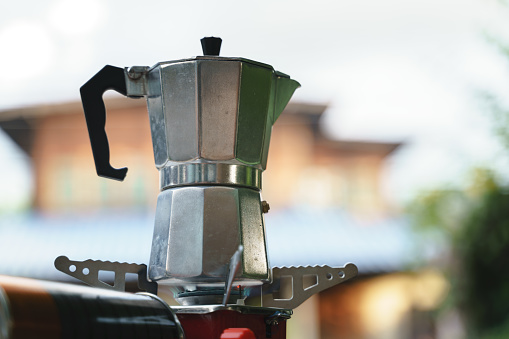 Steel espresso coffee maker or moka pot