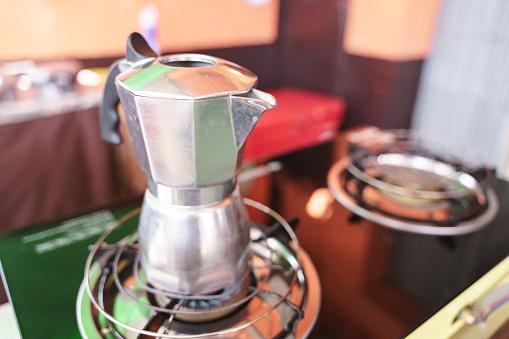 Steel espresso maker or moka pot