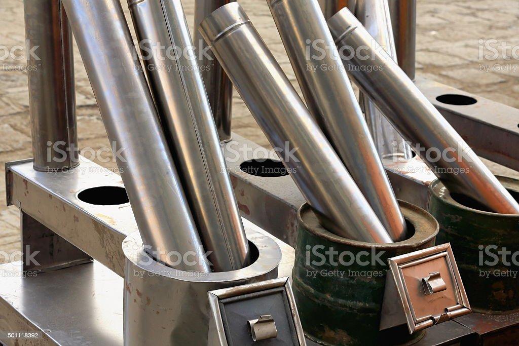 Steel exhaust pipes. Sakya-Tibet. 1907 stock photo