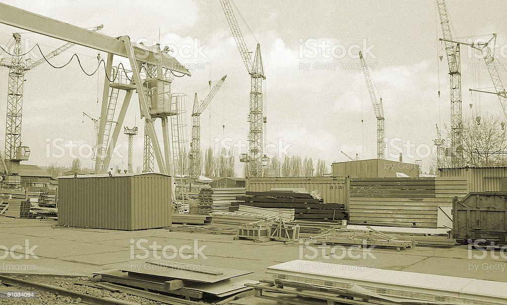 Steel factory area in sepia royalty-free stock photo