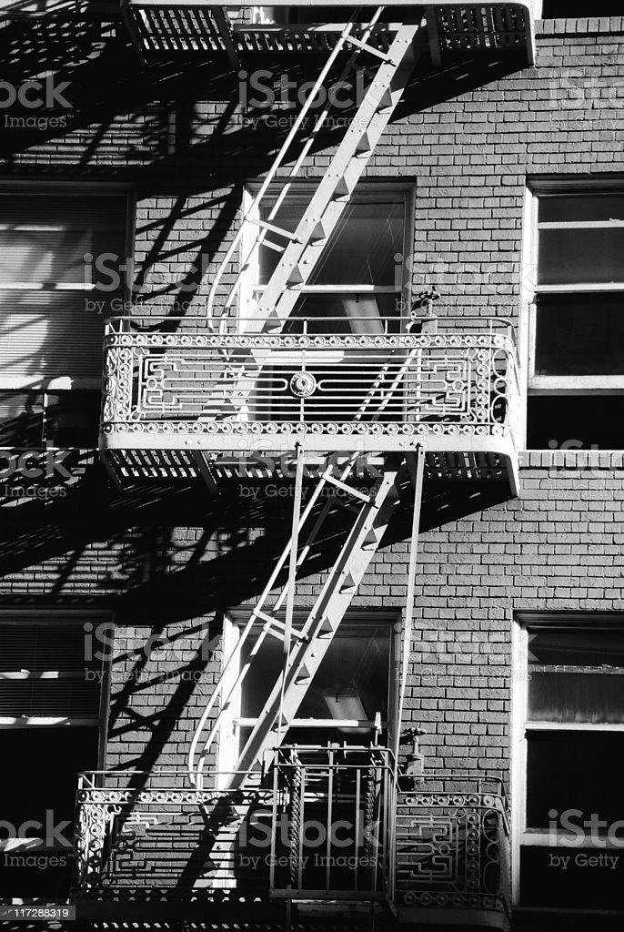 Steel Fire Escape royalty-free stock photo