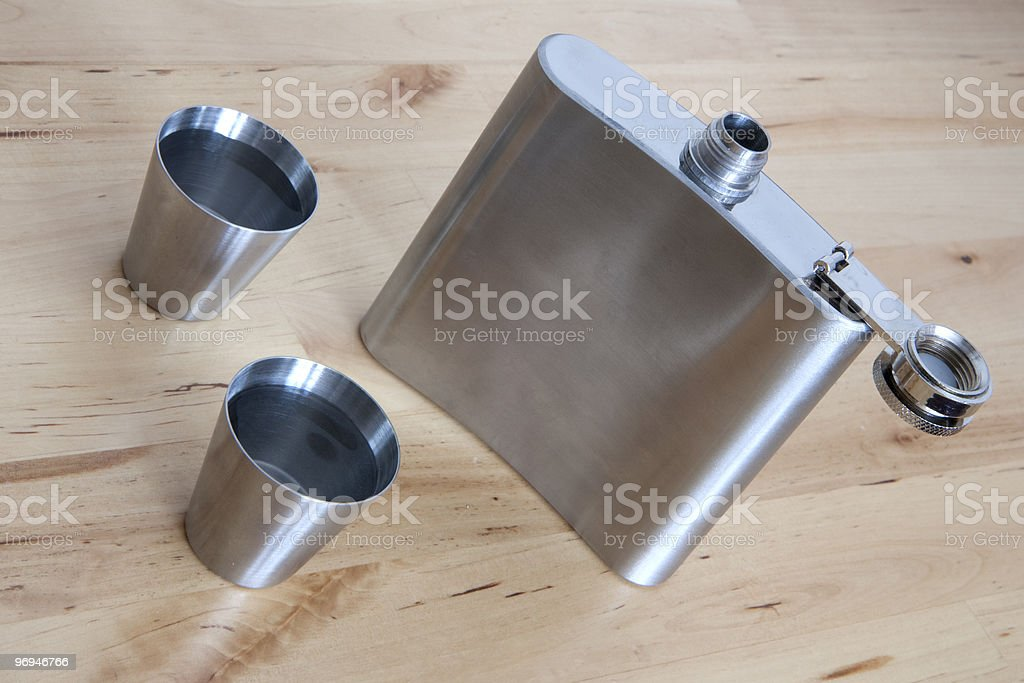 Steel flask with spirit royalty-free stock photo
