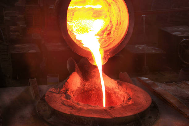 steel foundry (iron foundry, smeltery) - metallurgy stock photos and pictures
