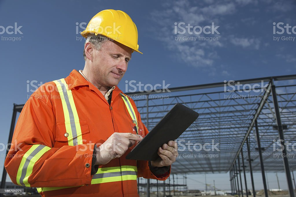 Steel Frame and Tablet PC royalty-free stock photo