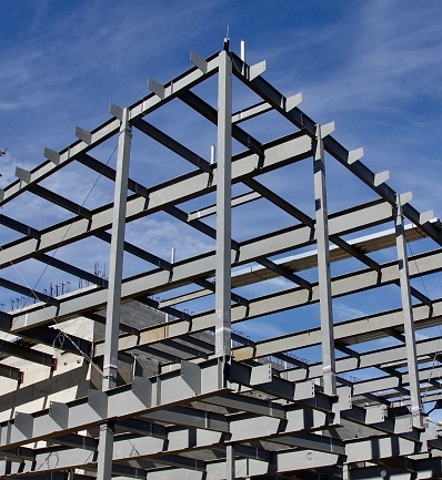 Steel frame of a building under construction