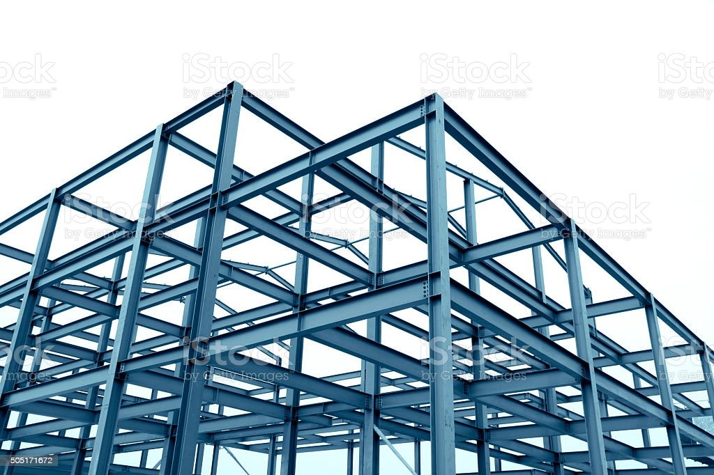 Green Metal Building Framing : Steel frame structure stock photo more pictures of