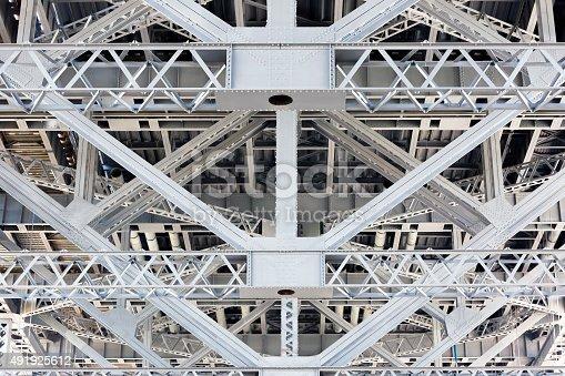 Closeup steel frame, structure under the Harbour Bridge Sydney Australia, full frame horizontal composition