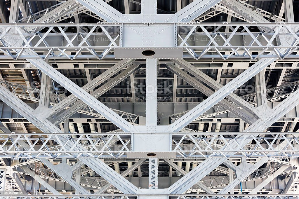 Steel frame, structure under the Harbour Bridge Sydney Australia stock photo