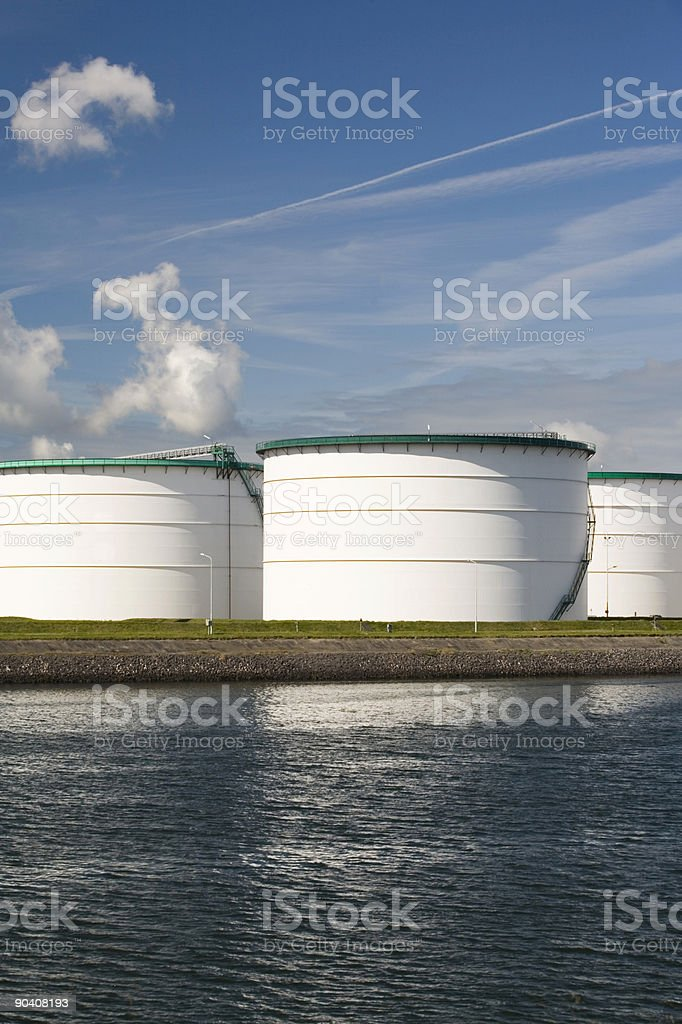 steel fuel storage tanks at an oil refinery stock photo