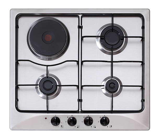 Steel gas-electric hob stock photo