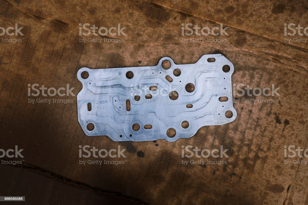 Steel gasket interior of Transmission linear shift solenoid. stock photo