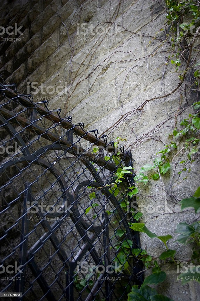 Steel gate and rugged wall stock photo