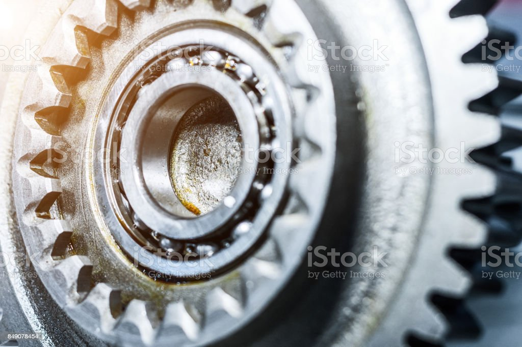 Steel gears and rolling bearing stock photo