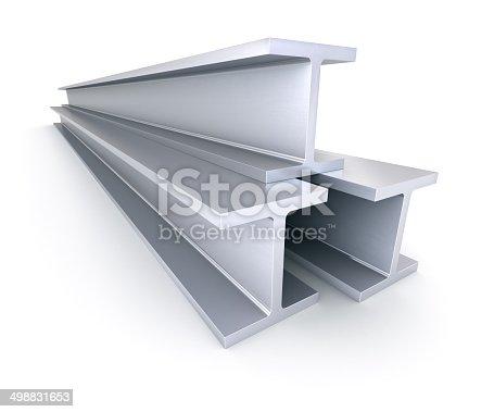 453066423 istock photo Steel girders I-beam isolated on white 498831653