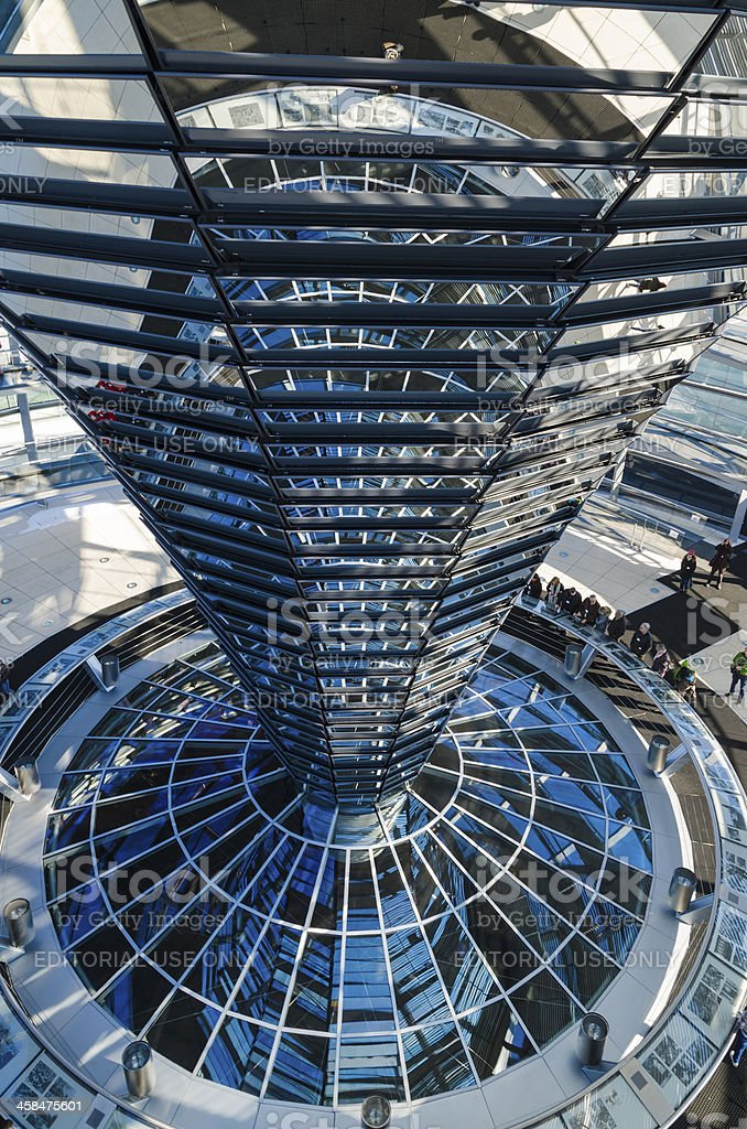 Steel, glass and mirrored cone - architectural details of Reichs stock photo