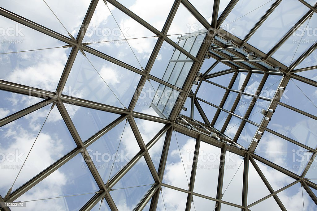 Steel Glass roof of modern building in Luxembourg stock photo