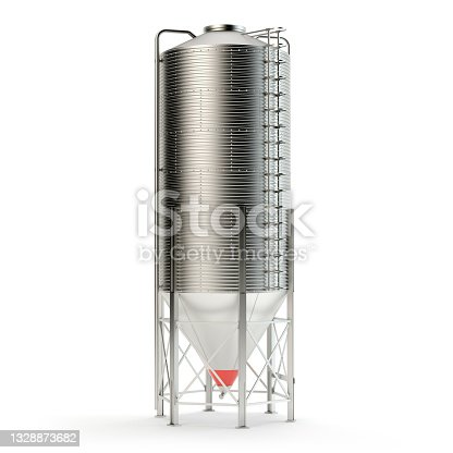 istock Steel grain silo isolated on white, 3d illustration 1328873682