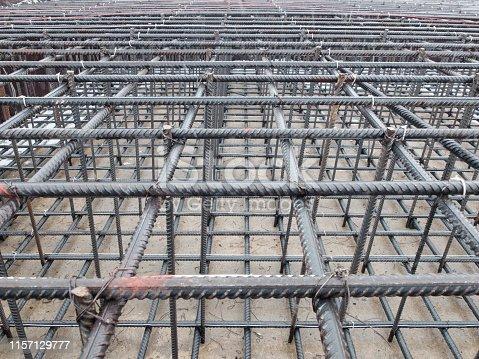 istock Steel grid of residential building footing reinforcement 1157129777
