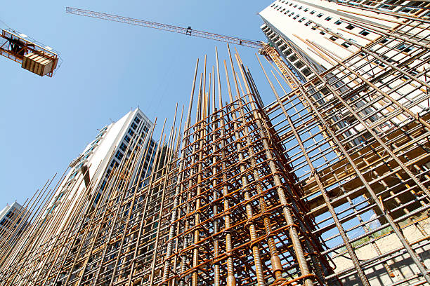 Steel grid on the construction site Steel grid on the construction siteSteel grid on the construction siteSteel grid on the construction site rod stock pictures, royalty-free photos & images